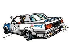 "car illustration ""crazy car art"" jdm japanese old school ""A60 BLACK MASK"" original characters ""mame mame rock"" / © ozizo Official web shop ""STAY CRAZY (in Society6)"" ""Crazy Car Art"" Line stickers ""Crazy Car Art"" Line themes ""Crazy car Art"" Telegram..."