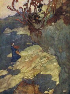 """Edmund Dulac SHAKESPEARE`S COMEDY OF THE TEMPEST (1908) """"Prospero: Here in this island we arrived"""" (di Plum leaves)"""