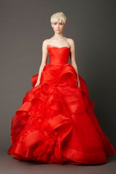 Cardinal strapless ballgown with hand-rolled floral detail skirt and horsehair trim
