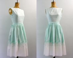 50s dress / 1950s day dress / embroidered by VintConditionStyle, $126.00