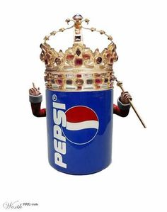 """Melissa Trahin: This is an example of a visual pun because the pepsi can and the crown form a new meaning intended to be humorous. I am able to interpret this picture as """"The king of pop"""" due to my prior knowledge of each individual product. Coca Cola, Corny Puns, Visual Puns, Carbonated Drinks, Mountain Dew, Dr Pepper, Reasons To Smile, I Love To Laugh, Brighten Your Day"""