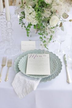 mint + white table setting