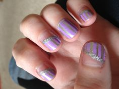 Purple and silver stripe with sparkle nails!