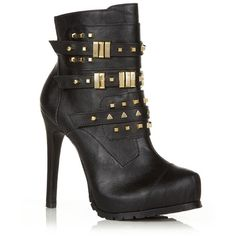 Black Stud Buckle Heeled Ankle Boots ($42) found on Polyvore