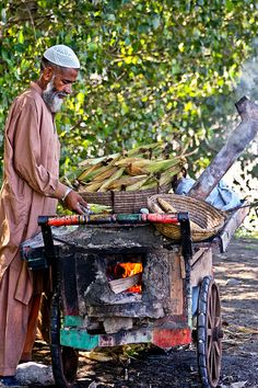 Yummy corn or as they call it Bhutta. In the evenings the corn sellers go through random streets, so that children playing outside their house in the afternoon or in the evening do not go hungry, and snack on their delicious bhuttas - Pakistan
