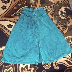 Teal pastel goth 80s acid wash Jean skirt 90s Bad ass electric teal acid wash skirt! Button as high or low as you want to go with the front. Excellent vintage condition brand is Sundance denim. Size 7/8 Sundance Skirts