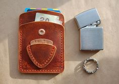 The Rustic Style Card Holder, Card Wallet, Biker Wallet, Leather Mens Wallet, Guitar Pick Wallet
