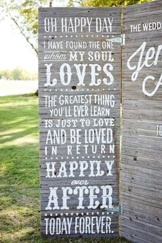 Large wooden wedding sign: http://www.stylemepretty.com/2014/03/18/20-stunning-ceremony-backdrops/