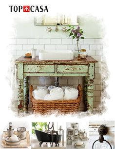 an old distressed table turned into a bathroom vanity with a modern drop in porcelain sink. Distressed Furniture, Shabby Chic Furniture, Vintage Table, Vintage Decor, Southern Living Homes, Wash Stand, Porcelain Sink, Vessel Sink, Country Decor