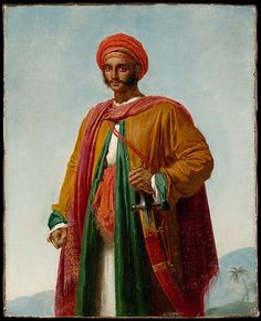 """Study for """"Portrait of an Indian""""  Anne-Louis Girodet-Trioson -  it was catalogued as a portrait of an Indian and dated 1807. The costume, however, is Ottoman, not Indian."""