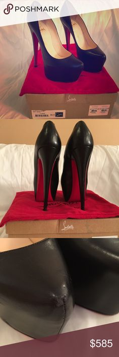 Christian Louboutin Daffodile 38.5 black platform pump. Used condition, there is a small scratch on the right shoe (shown in pic). You can't tell because the shoes are black. Christian Louboutin Shoes Platforms