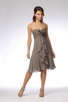 Sweetheart chiffon bridesmaid dress with empire waist.