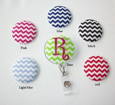 Retractable ID Badge Holder Reel   Fabric Button Your by Laa766 chic / cute / preppy / fabric / patterned / accessories / for you, co-worker or school gifts / home, office decor