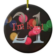 Funny Legal 21st Birthday Bokeh Christmas Lights Ceramic Ornament - birthday gifts party celebration custom gift ideas diy