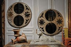 pair of wooden painted mirrors  c.1880
