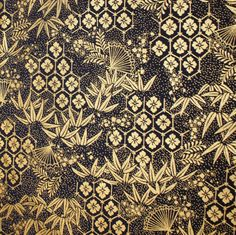 Asian Theme Quilters Fat Quarter Gold Black by cozylittlecorner
