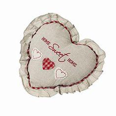 Malý  polštářek z hrubého plátna ve tvaru srdce