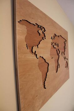 Laser cut wooden world mapundersea world wooden world map plywood large map of the world made entirely from wood it will be perfect addition to gumiabroncs Gallery