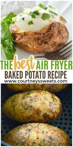 Air Fryer Baked Potato covered with a parsley garlic salt rub. Making Air Fryer . - Air Fryer Baked Potato covered with a parsley garlic salt rub. Making Air Fryer Baked Potatoes will - Air Fryer Recipes Potatoes, Air Fryer Baked Potato, Air Fryer Oven Recipes, Air Fryer Dinner Recipes, Baked Potato Recipes, Air Fry Potatoes, Air Fryer Recipes Vegetables, Recipes Dinner, Veggies
