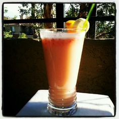 Orange Strawberry Banana Marhewu. A ferment populat South African drink, better than a smoothie.