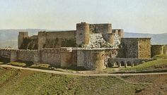 The Crusader fortress Krak des Chevaliers in Syria seen from the northwest