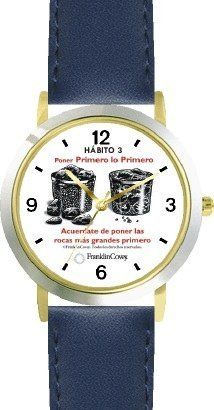 Habit 3 - Big Rocks Go First (Spanish Text) - DELUXE TWO-TONE WATCH from THE 7 HABITS - WATCH COLLECTION BY WATCHBUDDY® - Arabic Numbers - Blue Leather Strap-Size-Children's Size-Small ( Boy's Size & Girl's Size ) WatchBuddy. $49.95. Save 38%!