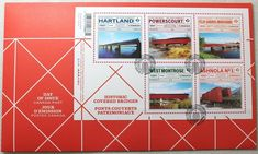 Day Of Issue Canada Post Historic Covered Bridges: Souvenir Sheet Official First Canada Post, Canada Day, Covered Bridges, Nova Scotia, Stamps, Store, Ebay, Souvenir, Seals