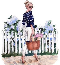 Look at this sassy little Inslee-fied lemonstripe strutting around with her hydrangeas and her nautical stripes and her high bun ready for the launch of her revamped site coming tomorrow! Fashion Sketches, Art Sketches, Art Drawings, Fashion Illustrations, Art And Illustration, Arte Fashion, Paper Fashion, Nautical Stripes, Watercolor Art