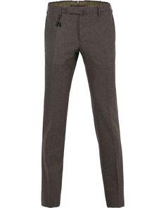 Incotex Super 100´s Flannel Trousers Medium Brown i gruppen Byxor hos Care of Carl (13044711r)