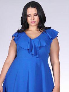 Buy Curve Royal Blue V Neck Skater Dress online now from Quiz. Sexy Outfits, Dress Outfits, Fashion Dresses, Plus Size Dresses, Short Dresses, Edgy Dress, Work Dresses For Women, Looks Plus Size, Voluptuous Women