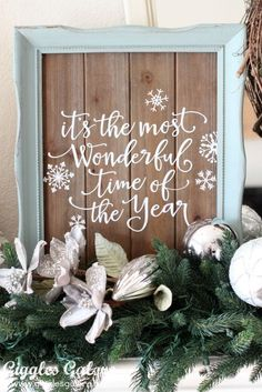 It's the Most Wonderful Time of the Year vinyl sign - Handmade Holiday Christmas Mantle Decorating Ideas