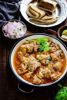 Peshawari Kadhai Gosht or Mutton Curry is an authentic Indian non-vegetarian dish made using mutton and various spices and is best relished with flatbreads. Lamb Recipes, Veg Recipes, Curry Recipes, Vegetarian Recipes, Vegetarian Dish, Beef Recepies, Spicy Recipes, Gosht Recipe, Biryani Recipe