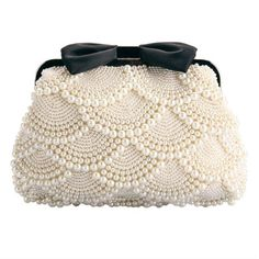Ethel Handmade Women Beading Evening Bags Beige Pearls with Black Bow Bridal Clutch Purse Chain Crossbody Bag Sacs Bolsas Beaded Purses, Beaded Bags, Pearl And Lace, Vintage Purses, Vintage Hats, Beautiful Bags, Crochet Bags, Clutch Purse, Crossbody Bag