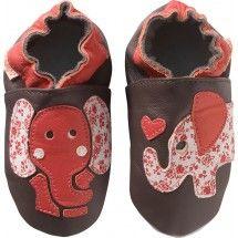 Chaussons bébé cuir souple - les éléphants rouges - face 800 jpeg