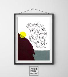 Burgundy/Aubergine and Green Grey Abstract Geometric Art Print  www.vfitzartist.com.au