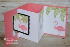 Pop of pink with Flirty Flamino - lever card