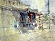 Shop on street, Hoi An, Vietnam (watercolor, 36x50 cm)