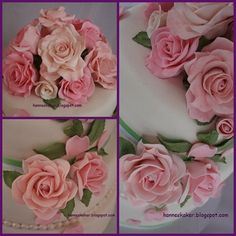 Roses made in flowerpaste and marzipan.  hanneskaker.blogspot.com Marzipan, Gum Paste, How To Make Cake, Roses, Flowers, Plants, Pink, Rose, Planters