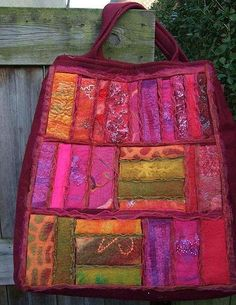 Shoppingbag made after a swap of felted pieces using embellisher by Marja M