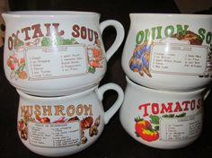 70s Soup Bowls With Handles and Recipe X 4 Kitch by Yesterdayshome