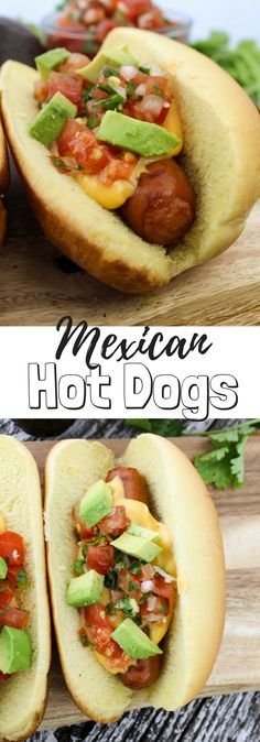 #ad Mexican Hot Dogs with fresh Pico de Gallo, Ricos Gourmet cheddar cheese sauce and avocado. #RicosCheesePlease @RicosProducts, #grilled #hotdog #gameday