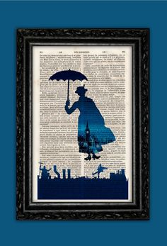 Flying Blue Mary Poppins London Print  Disney by ThePurpleHamster, €7.00