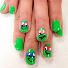 <p>Teenage Mutant Ninja Turtle nails for a classmate. </p>