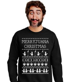 Here are marijuana pot leaf ugly holiday sweaters for smokers to wear during the holidays. Wear a marijuana pot leaf ugly holiday sweater for Christmas!