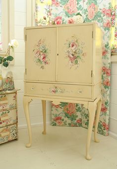 Hand Painted Drinks Cabinet
