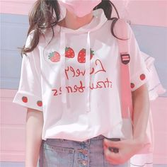 Fashion Strawberry T-Shirt ●Size: ●Material:Cotton ●About Shipping: time: business days. time: business days to US, please allow weeks shipping to other country.(Shipping times can be affected by variable customs clearance times or public holi Cute Casual Outfits, Pretty Outfits, Girl Outfits, Fashion Outfits, Kawaii Fashion, Cute Fashion, Teen Fashion, Pastel Fashion, Fashion Styles