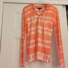 Tie-dye Orange long sleeve Never worn, great to throw on in the summer with shorts and sandals Chaps Tops
