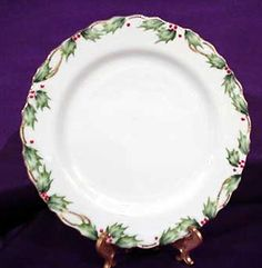 "Plate (dinner or salad) in ""Holly Garland"" by Lefton"