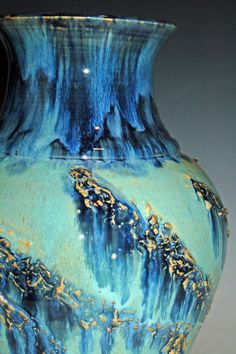 Pottery Vase with Blue and Green Glazes by nhfinestoneware on Etsy, $195.00