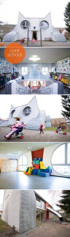 I dare you to find me a school building which is even more original than Kindergarten 'Die Katze' in Germany! Designed by multi-talented children's books author Tomi Ungerer, it is the most wonderful school building I have ever come acros...